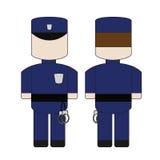 Gullig enkel tecknad film av en polis Royaltyfria Foton
