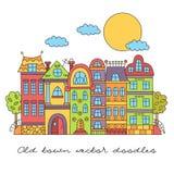 Gullig europeisk arkitektur klottrar stadsscape vektor illustrationer