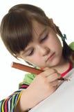 gullig färg tecknar flickamarkören royaltyfria foton
