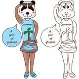 Gullig färgläggning för pandaexponeringsglas royaltyfri illustrationer