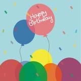 Gullig färgrik födelsedagballong royaltyfri illustrationer
