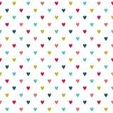 Gullig färgrik sömlös feriehjärtabakgrund stock illustrationer