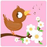 Gullig fågel på blomstra sjunga för filial Arkivbilder