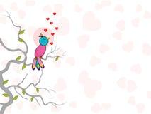 Gullig fågel som sjunger med hjärtor. Arkivbilder