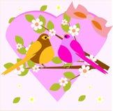 Gullig förälskelsefågelblomma Stock Illustrationer