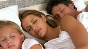 Gullig familj som sover i deras säng arkivfilmer
