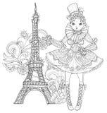 Gullig felik flicka för vektor i blommaklotter royaltyfri illustrationer