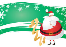 gullig festlig grön lista wavy santa för backg Arkivfoton
