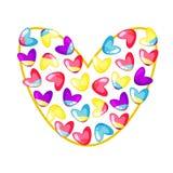 Gullig festlig hjärta som göras av små färgrika hjärtor i isolerade färger av regnbågen på vit bakgrund stock illustrationer