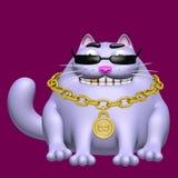 Gullig fet katt i svarta exponeringsglas och guld- medaljong illustration 3d Fotografering för Bildbyråer