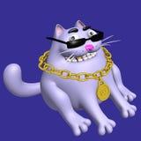 Gullig fet katt i svarta exponeringsglas och guld- medaljong illustration 3d Arkivfoton