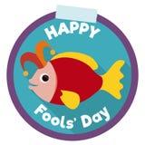 Gullig fiskknapp med Jester Hat för April Fools ' ferie, vektorillustration Arkivfoton