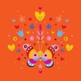 Gullig fjäril, hjärtor och blommor Royaltyfri Foto
