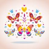 Gullig fjärilsvektorillustration Arkivbilder