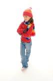 gullig flicka 5 little vinter fotografering för bildbyråer