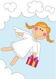 gullig flicka för ängel stock illustrationer