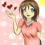 Gullig flicka för Anime Royaltyfri Fotografi