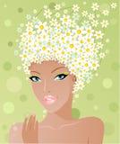 gullig flicka för chamomile vektor illustrationer