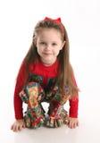 gullig flicka för jul little wear royaltyfri foto
