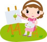 gullig flicka för konstnär little Royaltyfri Foto