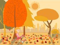 Gullig flicka för plan teckningsvektor som sover under ett träd i höst stock illustrationer