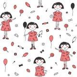 Gullig flicka för sömlös modell med ballongen, glass, jordgubbar och andra sötsaker på vit bakgrund vektor illustrationer