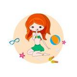 gullig flicka för strand Royaltyfri Foto