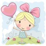 gullig flicka för tecknad film royaltyfri illustrationer