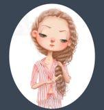 gullig flicka för tecknad film Royaltyfri Foto