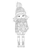 Gullig flicka för vektor i vinterhatt med julgåvan vektor illustrationer