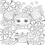 Gullig flicka för vuxen sida för färgläggningbok i trädgård också vektor för coreldrawillustration Royaltyfria Foton