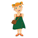 Gullig flicka i grön klänningvektorillustration royaltyfri illustrationer