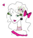 Gullig flicka i rosa färg Arkivbilder