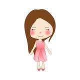 Gullig flicka i Rose Pink Dress bakgrund isolerad white Royaltyfria Foton