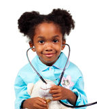 gullig flicka little leka stetoskop Royaltyfri Fotografi
