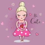 Gullig flicka med blomman med hjärtabakgrund vektor illustrationer