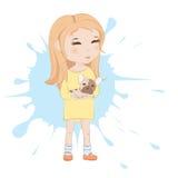 Gullig flicka med den franska bulldoggen royaltyfri illustrationer