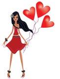 Gullig flicka med hjärtaballonger Royaltyfri Foto