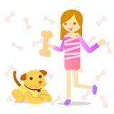 Gullig flicka med hunden Royaltyfria Foton