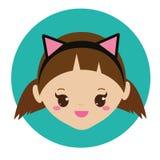 Gullig flicka med huvudbindeln för kattöron Vektorillustration för ungar Arkivfoton