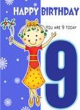 Gullig flicka med illustrationen för vektor för ålder 9 för kort för lycklig födelsedag stock illustrationer