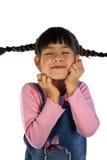 Gullig flicka med trådar för hår Royaltyfri Fotografi