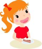 Gullig flicka och cake vektor illustrationer