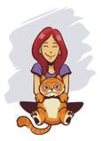 Gullig flicka och gullig katt Arkivbild