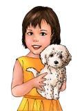 Gullig flicka och valp, gullig flicka, gullig valp, hund, gulligt flickabarn, djurt som är mänskligt, barn, husdjurägare, husdjur vektor illustrationer