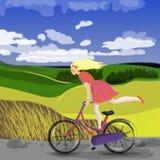 Gullig flicka på cykeln Royaltyfri Fotografi