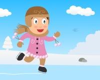 Gullig flicka som åker skridskor på is i parkera stock illustrationer
