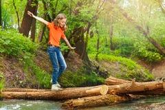 Gullig flicka som balanserar, medan korsa en journalbro Royaltyfri Fotografi