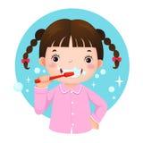 Gullig flicka som borstar henne tänder vektor illustrationer