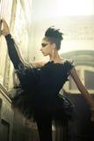 Gullig flicka som en svart svan Royaltyfri Fotografi